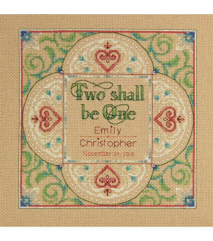 "Two As One Wedding Record Counted Cross Stitch Kit-10""X10"" 14 CountTwo As One Wedding Record Counted Cross Stitch Kit-10""X10"" 14 Count,"