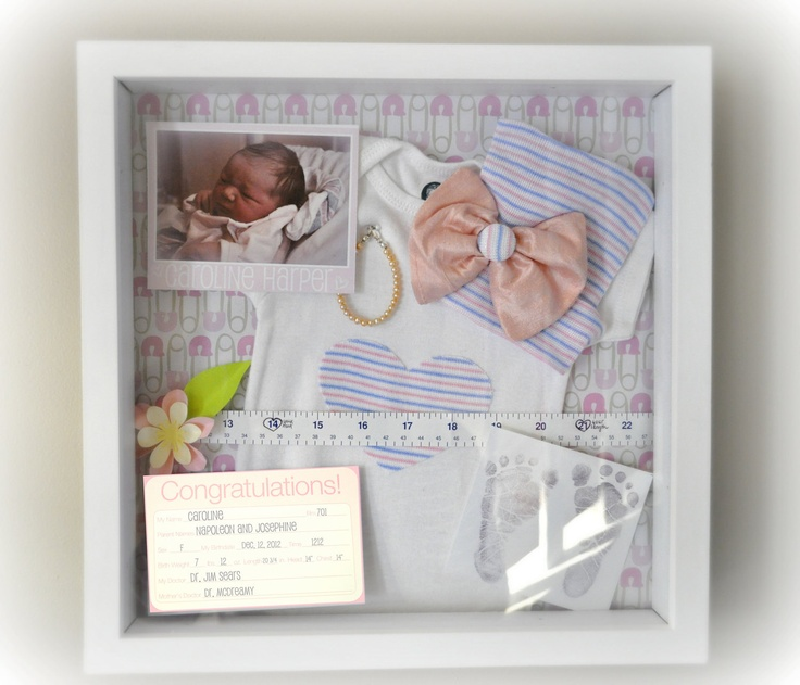 "What a great keepsake/display! Better than putting everything into a box to store. I'll have to look for I all the kids' ""stuff"" from the hospital...measuring tape, hospital bracelets, basinet card, etc."