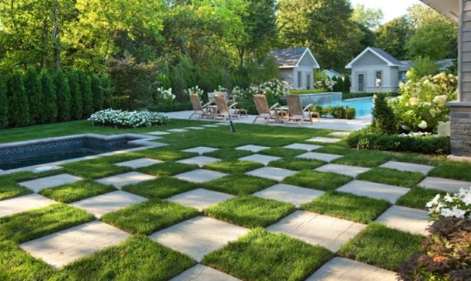 17 best images about the back yard on pinterest backyard for Checkerboard garden designs