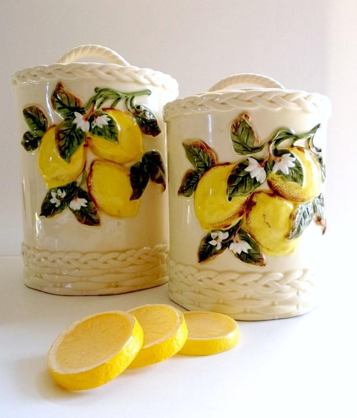 Vintage Lemon Leaf Canisters
