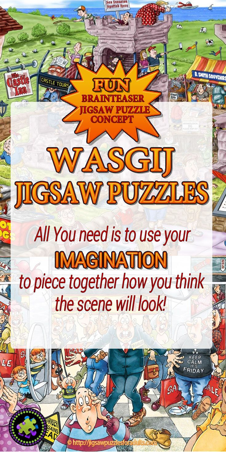 Love these Wasgij jigsaw puzzles! Great Brainteaser Jigsaw Puzzle Concept! If you're looking for fun unique cartoon jigsaw puzzles for adults these are perfect. These funny difficult jigsaw puzzles get you using your imagination to piece together how you think the scene will look!