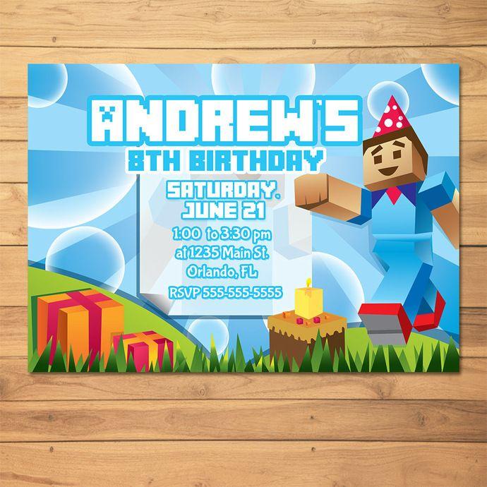 Minecraft Invitation Steve * Minecraft Invite * Minecraft Birthday * Minecraft Printables by MonksTavern, $7.95 USD