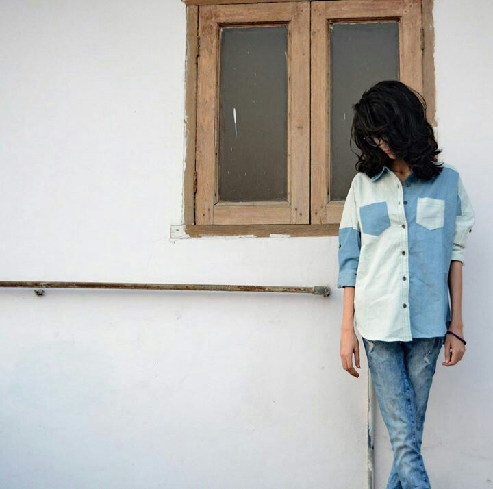 Shades of blue blocked shirt.  To buy drop a comment.