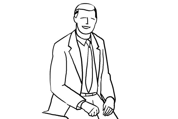 10. Against common belief, it is absolutely fine to make shots of a man sitting partly on a desk. For formal portraits such a pose might counteract rigidness.