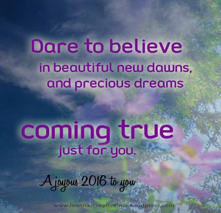 New years message, a quote on believing