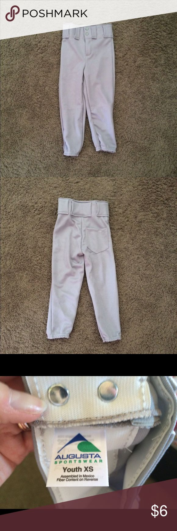 Youth XS Light Gray Athletic Pants for Boy or Girl 100% Polyester Athletic Pants, for a small child. In euc, pocket in the back and belt slots. 2 snaps and a zipper. Would work for a boy or girl. Stretch at the bottom of the legs too. augusta Bottoms Sweatpants & Joggers