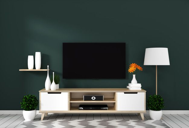 Smart Tv With Blank Screen Hanging On The Wall Dark Green On White Wooden Floor Mockup 3d Rendering Feature Wall Living Room Living Room Green Dark Green Living Room