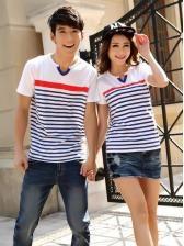 Korean fashion V collar stripes short sleeve couple shirt