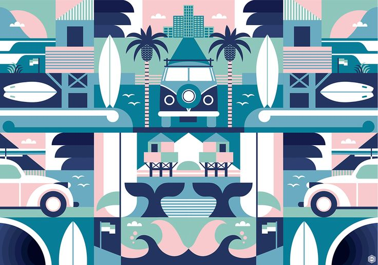 Print inspired by road trips to the west coast of Auckland, NZ to go surfing.