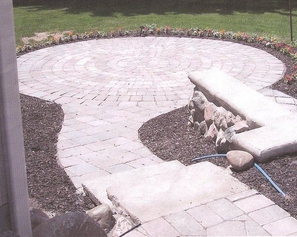 Create a great backyard space with pavers! Circle kits available from Knepp Sand and Stone.