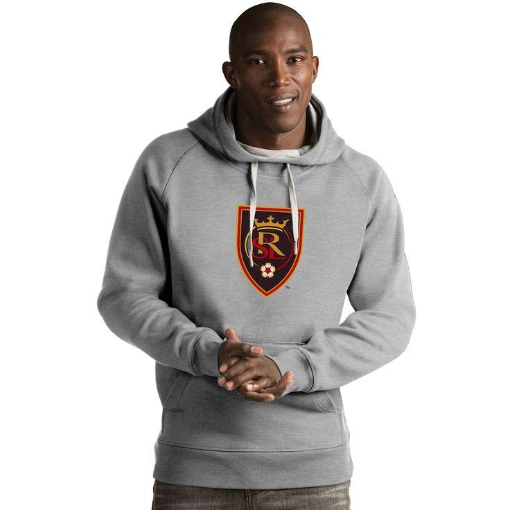 Men's Antigua Real Salt Lake Victory Logo Hoodie, Size: Large, Light Grey
