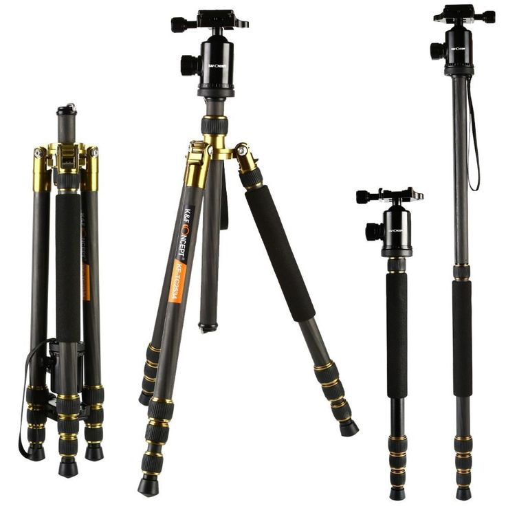 K&F CONCEPT Professional Carbon Fiber Photographic Portable Tripod to Monopod+Ball Head+Carry Bag for Canon Nikon Digital Camera //Price: $141.59//     #shop