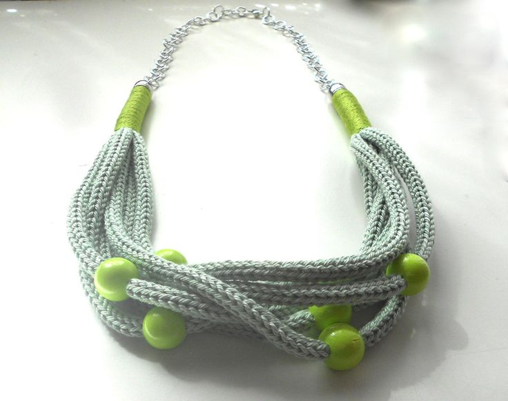 Collane multifili - Collana color verde mela effetto Tricot - un prodotto unico di FlamiFla su DaWanda
