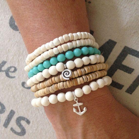 Anchor bracelet, sterling silver nautical bracelet, coastal style accessory, beach jewelry, beachcomber wooden beaded bracelet