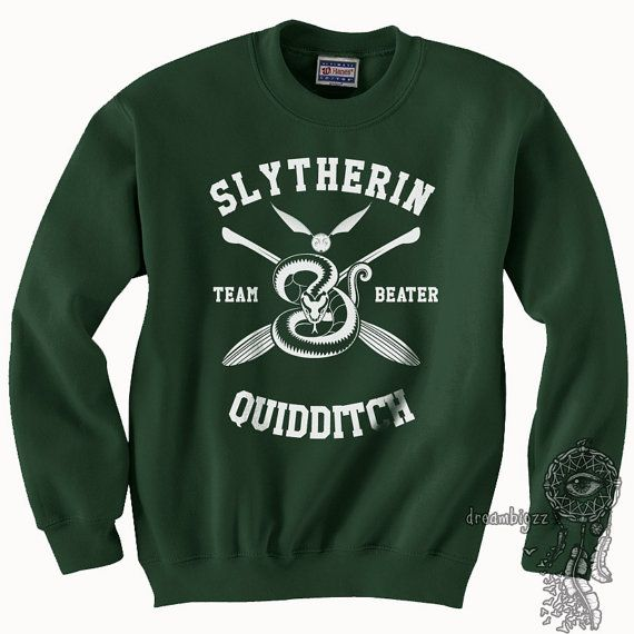 BEATER  Slytherin Quidditch team Beater WHITE print on Forest
