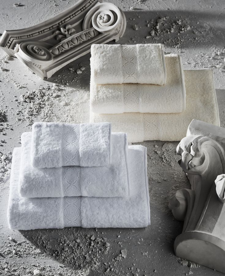 ROSE WINDOW LACE BATH LINENS - Beautifully soft cotton towels with intricate cotton lace inserts.