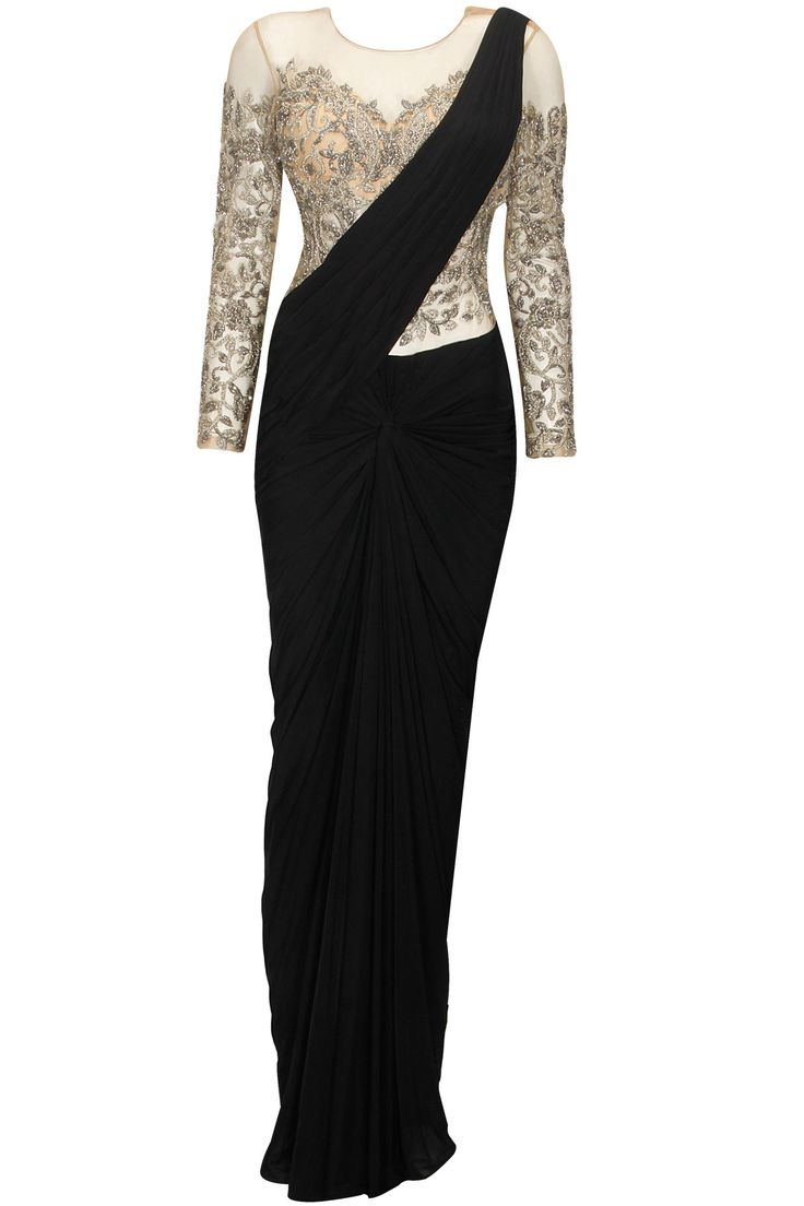 Black silver bead embroidered knotted sari gown available only at Pernia's Pop Up Shop.