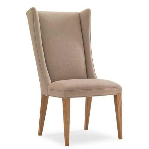 Modern farmhouse modern upholstered wing back dining chair for Wing back dining chairs