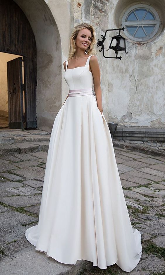 Simple 2019 White Wedding Dresses A line Square Neckline Modest Satin Bridal Gowns with Pockets