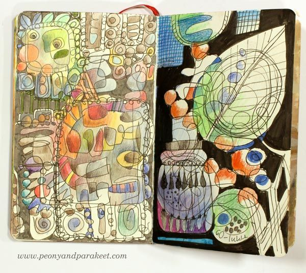 1960s inspired page on a Moleskine Sketchbook, by Peony and Parakeet.
