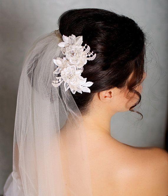 Ivory Hair Flowers Lace Headpiece Bridal Hair by GildedShadows, $64.00
