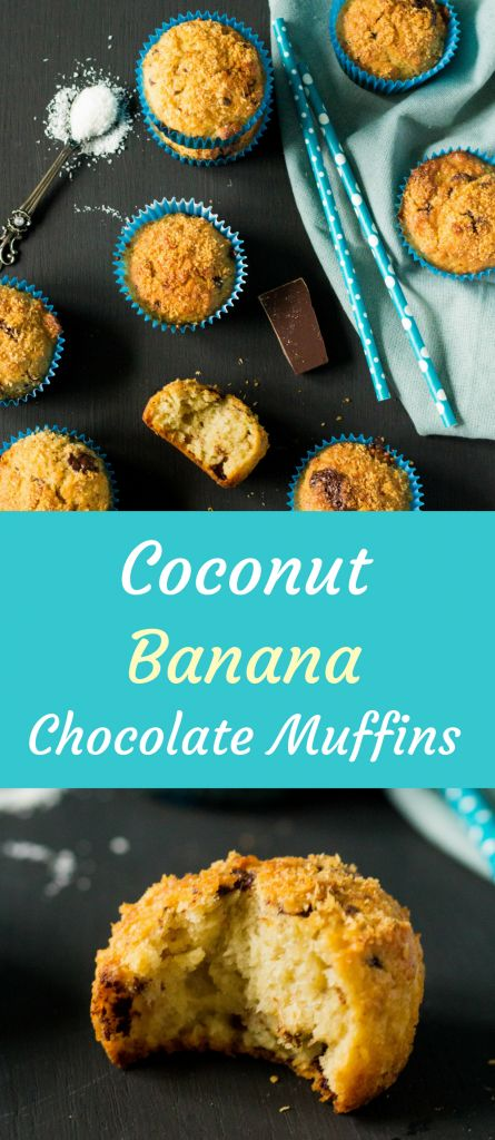Moist, fluffy and super delicious coconut muffins with smashed banana and dark chocolate