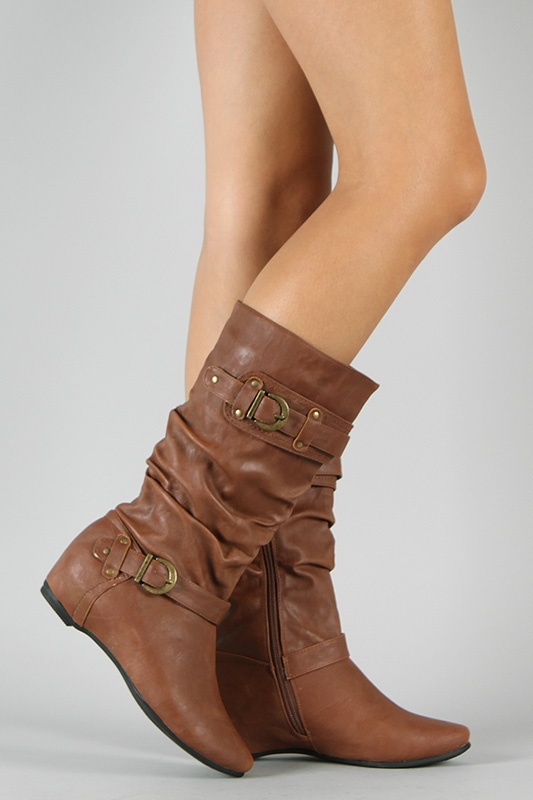 Vickie-16 Buckle Slouchy Mid-Calf Boot - Best Boot Website EVER
