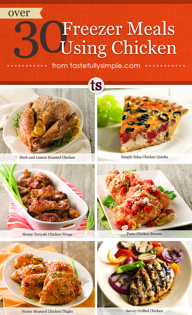Enjoy over 30 delicious and easy freezer meal recipes using chicken!