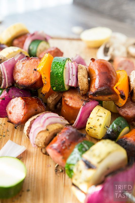 rilled Sausage & Veggie Kabobs // When temps are rising it's time to take dinner outside. These kabobs are absolutely perfect and completely customizable. Swap in your fav veggies, skewer up your favorite sausage and voila you've got a delicious dinner in only a matter of minutes!   Tried and Tasty #SausageFamily #ad http://triedandtasty.com/grilled-sausage-veggie-kabobs/