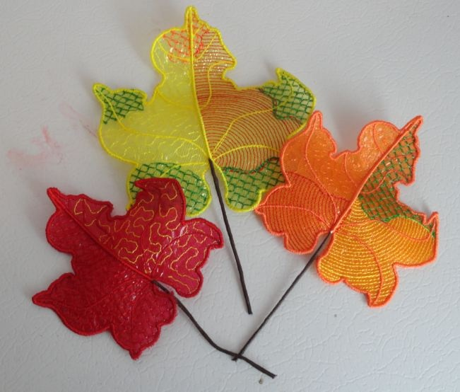 Pam's Embroidered Mylar Leaves 4-6
