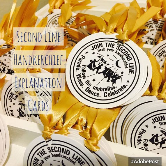 second line handkerchiefs, Explanation card water meter ribbon choice colors .50 cents each New Orleans Free shipping with another items
