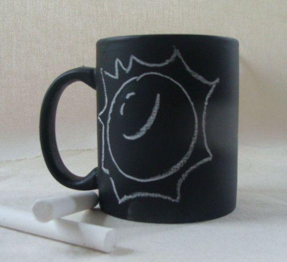 Coffee Mug Cup Chalk Board Message Ceramic Repurpose by earthluv, $11.00