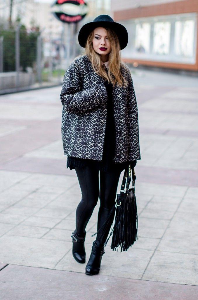 zara animal print coat black outfit fringed bag h&m hat burgundy lips