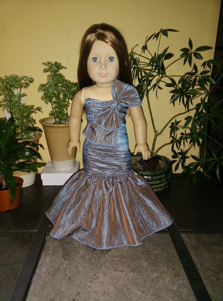 """Beautiful Mermaid Dress gown for American Girl Dolls and 18"""" Dolls."""