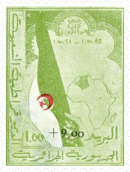 The first postal stamp issued in Algeria on 01 November 1962. أول طابع بريدي صادر في الجزائر في 01 نوفمبر 1962 . Le premier timbre postal émis en Algérie le 1er novembre 1962.