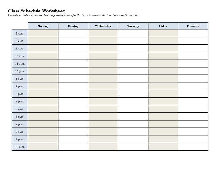 schedule worksheet templates