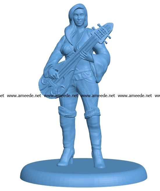 Female Bard with Lute Women B003120 file stl free download