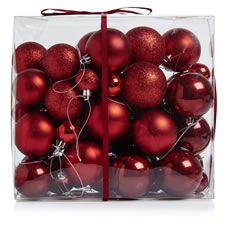 Wilko Christmas Decorations Red                   Mixed Sizes And Finishes Nordic 55pk