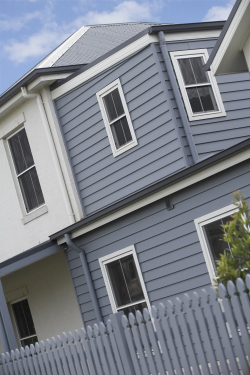 Blue/grey weatherboards with white trim