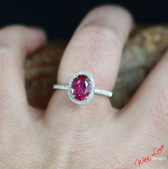 Ruby & Diamond Oval Halo Engagement Ring 1.5ct by WanLoveDesigns