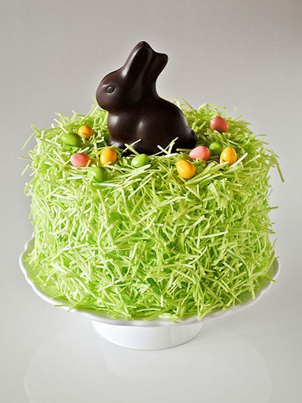 The Cutest Recipes to Make this Easter | RABBIT CAKE | Covered with edible grass and a chocolate bunny, this impressive confection only looks labor intensive – you can even use a store-bought cake as a shortcut.