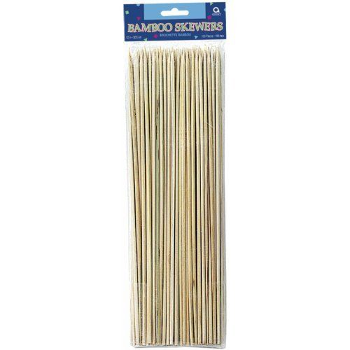 "AMSCAN 12"" Bamboo Skewer 100-Pack by AMSCAN. $3.97. Bamboo Skewers  100 Pieces  12"" Inch Kabobs. Eco Friendly Alternative to Wood. High Quality Bamboo Skewers.. 100 bamboo skewers for any celebration! Use to make ka-bobs over the grill! Each is 12 long. Not recommended for children under 5 years of age."