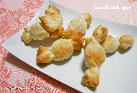 Caramelle salate, ripiene a piacere, una ricetta facile: con pochi ingredienti un'antipasto gustoso da servire con stuzzichini, sono molto gradite.
