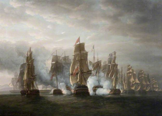 'Pursuit of the French Squadron after the Surrender of La Hoche 84 and Coquille 44, with The Action of the Ethalion and Bellone and the Anson, bearing down upon the Van Ships of the Enemy, (Oct. 12th 1778)' by Nicholas Pocock National Museums Northern Ireland Date painted: 1799