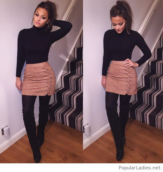 black-blouse-and-boots-with-a-brown-leather-skirt