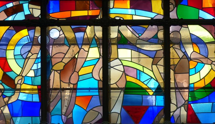 Stained-glass windows at the Gellert Spa in Budapest (March 2014) - Photo taken by BradJill