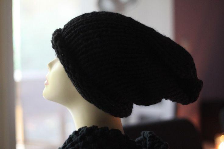 strick+long+Beanie+Mütze+schwarz+von+Marie-Bubbles+auf+DaWanda.com