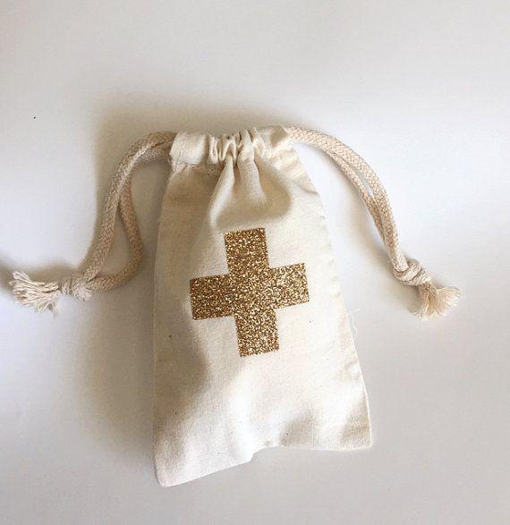 Gold glitter cross hangover survival kit- Bachelorette party favor bag- drawstring party favor bag - $1.95