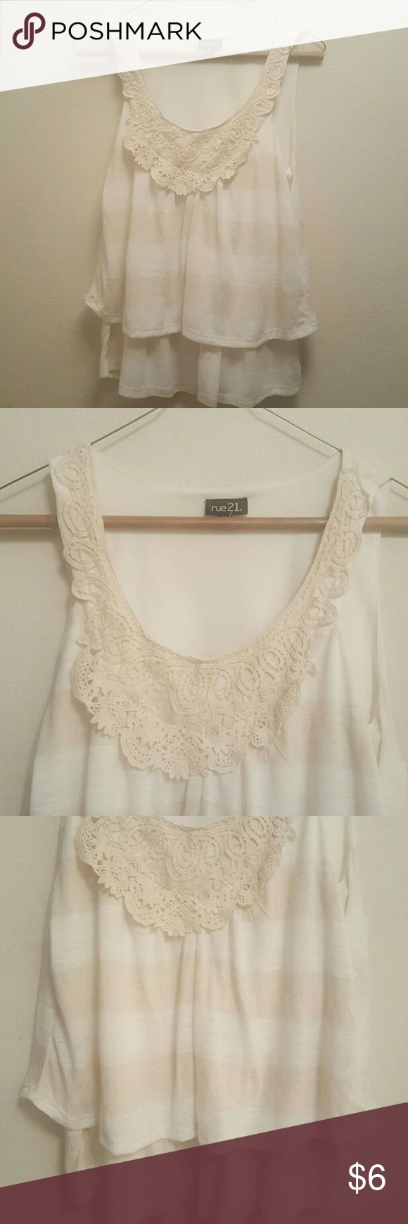 Rue 21 Cream & Beige Top/w lace around collar Like new worn once.  Very comfortable fit. Rue 21 Tops Tank Tops