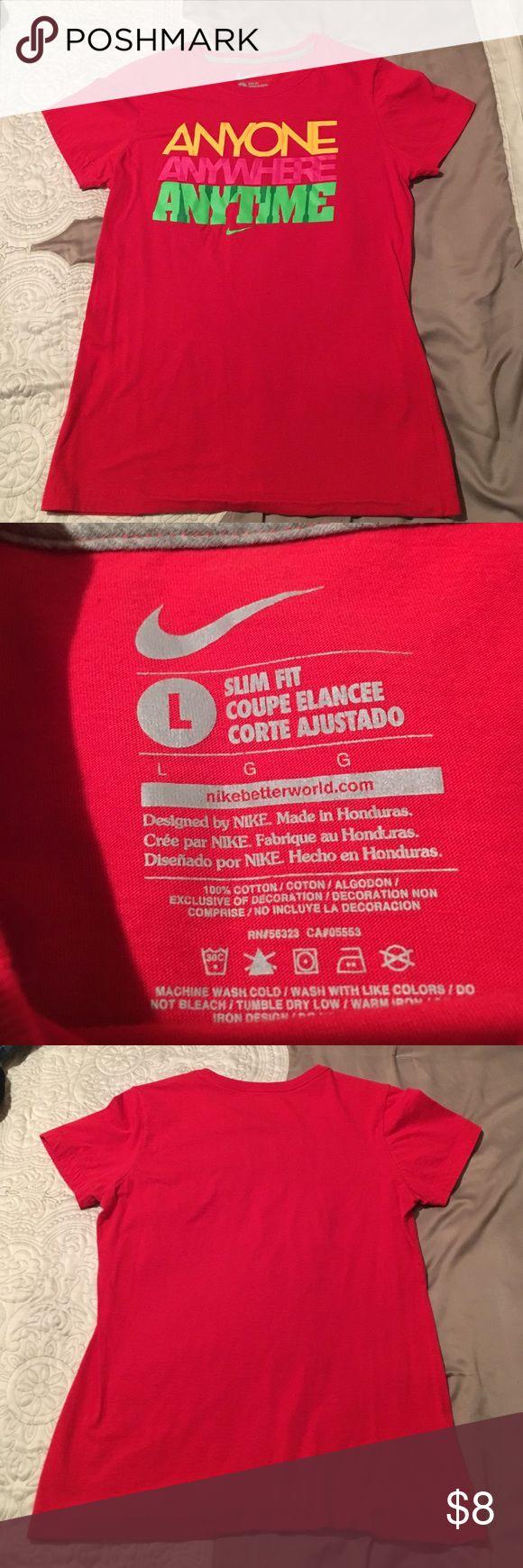 Nike Red Slim Fit Women's Large T-Shirt Slim Fit Nike Shirt gently used Nike Tops Tees - Short Sleeve